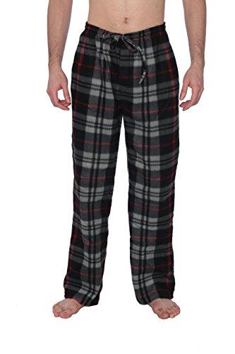 Active Club Fleece Lounge Plaid Pajama Pants for Men - Adjustable Waistband Black & Gray Plaid,X-Large