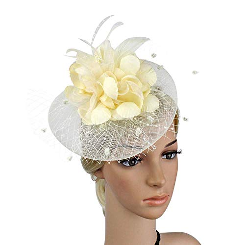 Big Flower Headband Netting Mesh Hair Band Cocktail Hat Party Fascinator, Beige, One Size