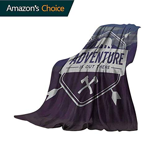 vanfan-home Adventure Luxury Flannel Fleece Blanket,Adventure Logo with A Motivational Quote Hatchets and Bear Mountain Landscape All Season Light Weight Living Room/Bedroom,W60 X L35 Inch Stale Blue