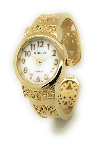 Ladies Elegant Metal Bangle Cuff Fashion Watch Pearl Dial Wincci (Gold)