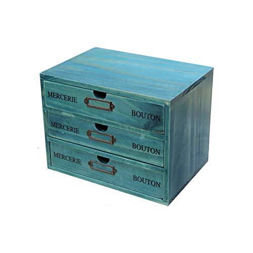 Cajones de Almacenamiento de Madera Retro, Aesy Gabinete de Escritorio para la Joyeria Organizacion Cosmetica 1/2 / 3-Capa Cajones (3 Cajones, Azul)