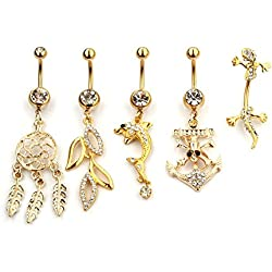 Freedom Fashion Gold Plated Navel Ring with Jeweled Fox Holding Cats Eye Stone Sold by Piece