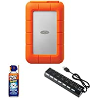 LaCie 4TB Rugged RAID USB 3.0 Thunderbolt with Professional Blow Off Air Duster Cleaner (3.75oz.) & 7-Port USB 3.0 Hub