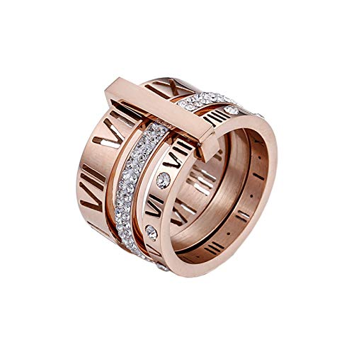PAMTIER Women's Stainless Steel with Zirconia Roman Numerals 3 in 1 Ring