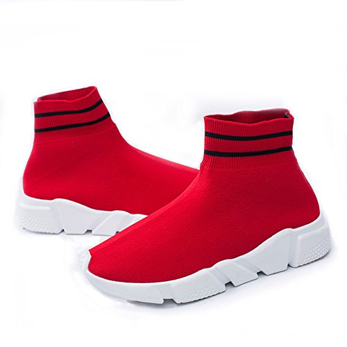 New Fashion Women's Knitted Vamp Socks Shoes Lightweight Breathable Outdoor Casual Sports Running Sneakers Walking Shoes Red 39 EU/7.5 B(M) US