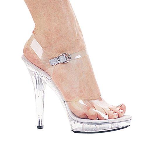 5 Inch Women's Sexy Clear Shoe Casual High Heel Sandal Mini Platform Size: 8
