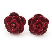 Tiny Red Rose Stud Earrings In Silver Tone Metal - 10mm Diameter