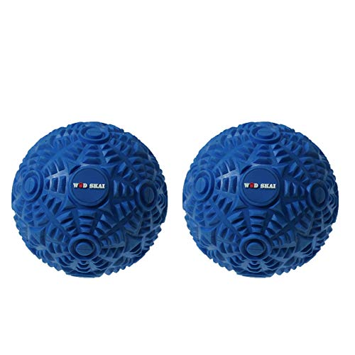 WODSKAI Massage Ball Myofascial Release Lacrosse Ball for Trigger Point Therapy, Muscle Knots, Yoga Therapeutics with 3 Kinds Bag-Free Carrying Bag (Blue 8cm)