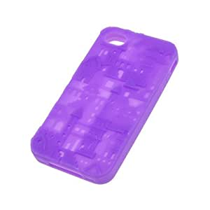 Purple Silicone Silica Gel Case Cover Skin For Apple Iphone 4G Castle Pattern