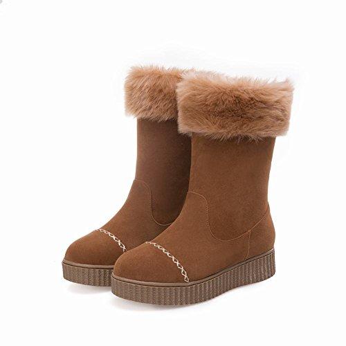 Mostrar Botas De Nieve Shine Mujeres Fur Forro Plataforma De Nieve Grueso Marrón