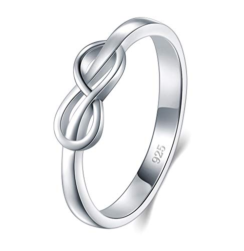 (BORUO 925 Sterling Silver Ring, High Polish Infinity Symbol Tarnish Resistant Comfort Fit Wedding Band Ring Size 8)