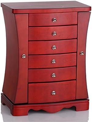 a55a18555 Amazon.com: Rowling Modern Wooden Jewelry Box Organizer with Mirror Jewelry  Chest MG012 (CHERRY)