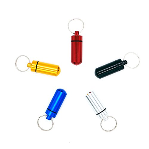 Gazeto 5PCS Pill Holders - Aluminum Alloy Pill Box Case Bottle Holder Keychain Container EDC Tool