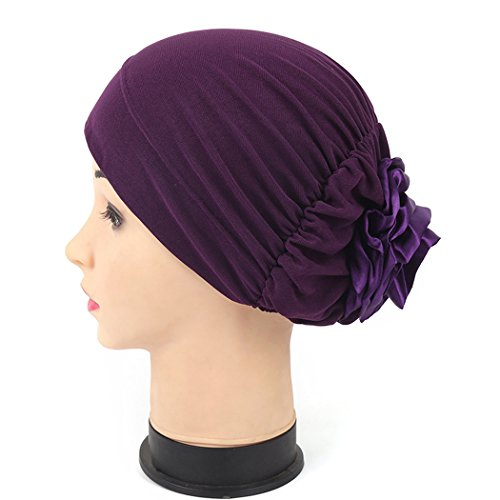 [Women Turban Back Flower India Hat Muslim Headscarf Chemo Beanie Purple] (Purple Hats For Sale)