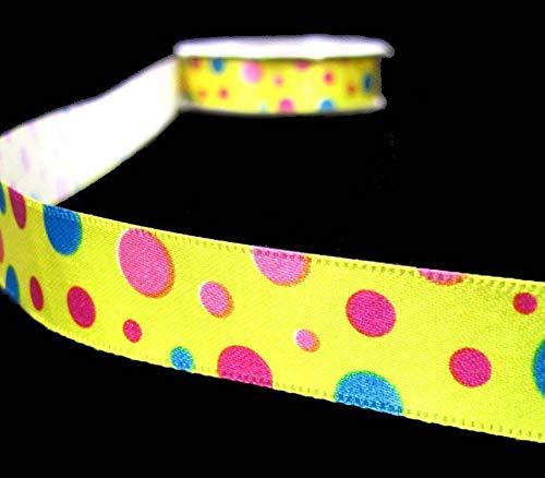 Ribbon Art Craft Decoration 5 Yds Yellow Circus Polka Dots Polkadots China Satin Ribbon 5/8