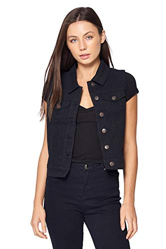 Blue Age Women's Sleeveless Jean Vest Colored Denim Solid Black ()