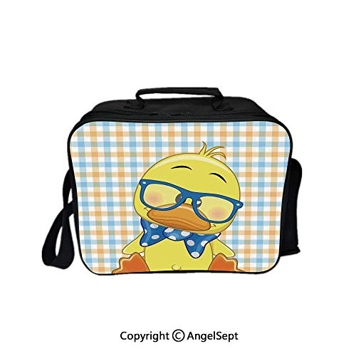 Fashion Custom Lunch Bag Tote Bag,Hipster Boho Baby Duck with Dotted Bow Cool Free Spirit Smart Geese Artsy Decor Orange Yellow Blue 8.3inch,Lunch Organizer Lunch Holder For Unisex Adults
