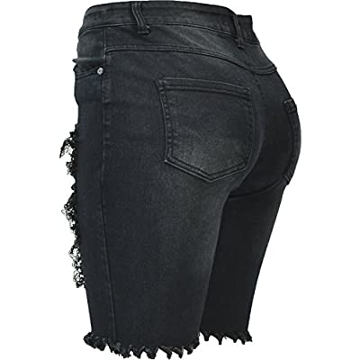 Hand By Hand Aprileo Women Distressed Capri Destructed Shorts Ripped Slashed Jean