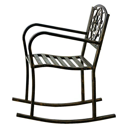 BS Antique Bronze Finish Metal Fleur-de-Lis Patio Rocking Chair Wrought Iron Home Outdoor Garden Deck Poolside Furniture Glider Rocker Heavy Duty Extra Durability & eBook by BADA - Metal Antique Bronze Finish