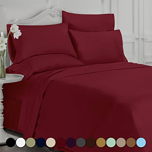 Swift Home Luxury Bedding Collection, Ultra-Soft Brushed Microfiber 6-Piece Bed Sheet Sets, Extremely Durable - Easy Fit - Wrinkle Resistant - (Includes 2 Bonus Pillowcases), Queen, Burgundy - 2 6 Bedding