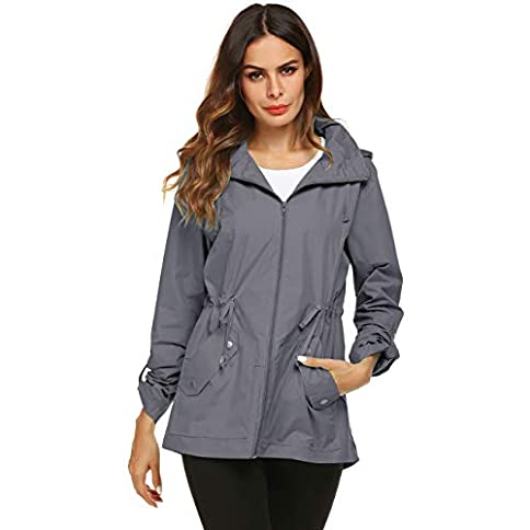 - 41j5VdIpq1L - Raincoat Women Waterproof Outdoor Active Mesh Lining Hooded Rain Trench Jacket