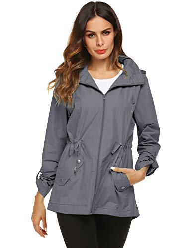 Raining Coat for Women Superdry Thick Casual Coat Gray XL