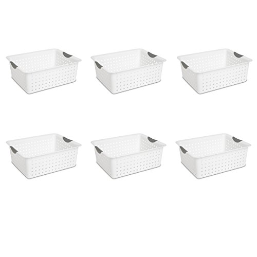 Sterilite 16268006 Large Ultra Basket, White Basket w/ Titanium Inserts, (White Plastic Storage Basket)