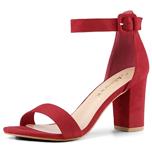 Allegra K Women's Open Toe Chunky High Heel Ankle Strap Sandals (Size US 6) Red -
