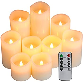 "Flameless Candles, Battery Candles Set of 9(D3"" x H3""4""5""6""7""8"") Pillar LED Candles With Remote Timer by Comenzar (Ivory)(Batteries not included)"