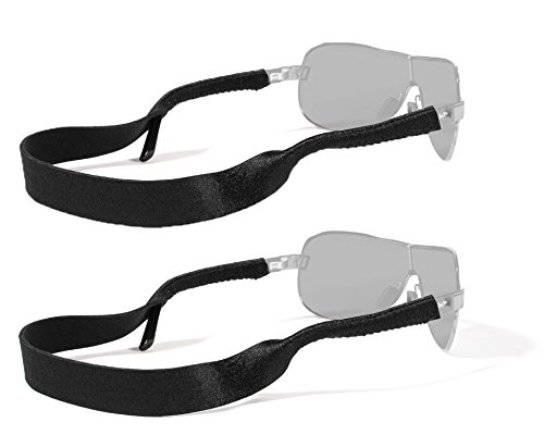 Croakies Original Standard Fit Neoprene Elastic Eyeglass and Sunglass Retainer / Strap, Black (2 - Straps Croakies Sunglass