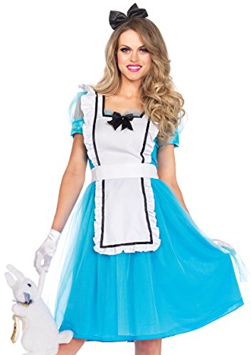 Leg Avenue Women's Classic Alice Costume, Blue/White, Large - Classic Mad Hatter Costumes