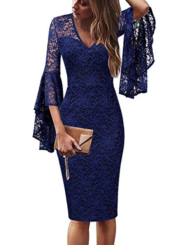 VFSHOW Womens Deep V Neck Blue Floral Lace Ruffle Bell Sleeve Cocktail Party Sheath Dress 2379 BLU XXL