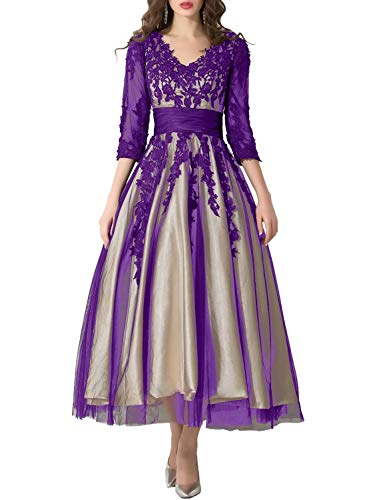 Tea Length Party Dresses Plus Size Prom Dress 2019 Manual Appliqued Empire Waist Pleated Tulle V Neck Party Gowns Work Dresses for Women Lomg Sleeves Formal Gown YW38 Purple Size 24W