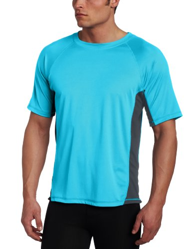 Kanu Surf Men's CB Rashguard UPF 50+ Swim Shirt (Regular & Extended Sizes), Neon Blue, Large