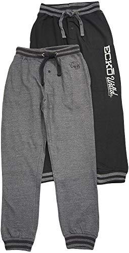 Ecko Unltd. Mens Fleece Jogger Pants - 2 Pack, Black, Charcoal 41198-Large