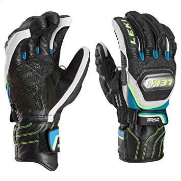 LEKI World Cup Race Ti S Glove Black/White/Cyan/Yellow Medium (8.5)
