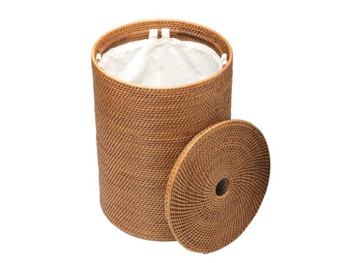 "KOUBOO 1030001 Rattan Hamper with Cotton Liner, 18"" x 18"