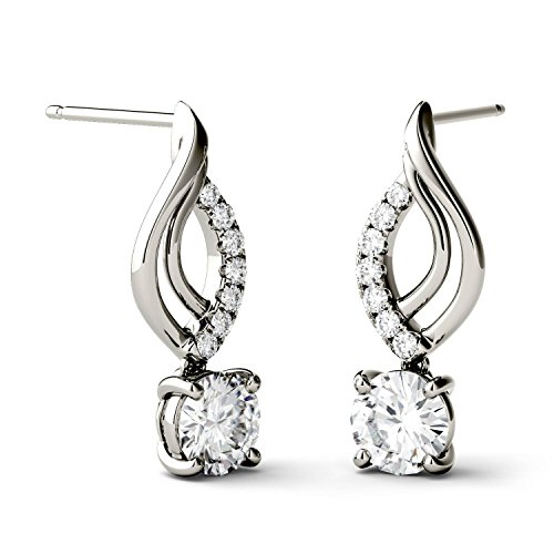 (Forever Brilliant 5.0mm Round Moissanite Drop Earrings, 1.14cttw DEW by Charles & Colvard)