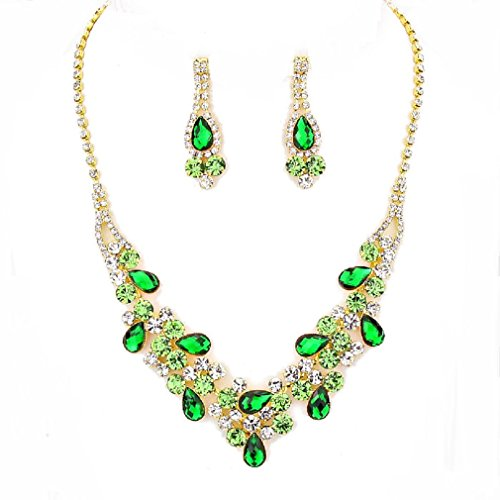 Christina Collection, affordable wedding jewelry Emerald Green Clear Lime accents Rhinestone V-Shaped Prom Bridesmaid Gold Necklace Earrings (Green And Gold Costume Jewelry)