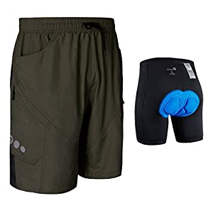Baleaf Men's 3D Padded Mountain Bike Cycling Baggy Shorts - Removable Mesh Linner Underwear Army Green Size L