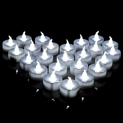 AGPTEK 60 PCS Flameless Tea Lights, Battery Operated No Flicker Steady LED Candles for Wedding Party Festival Decoration Occasions - Cool -