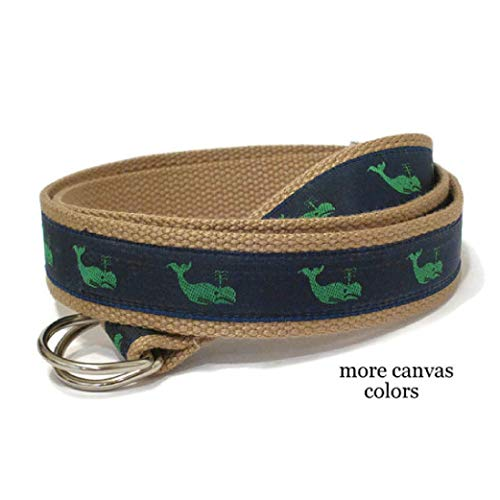 Mens Belt/Green Whale Belt/Canvas Belt/Preppy D-ring Belt/Navy Webbing Belt/Ribbon Belt for men, teens big & tall men - Green Whales (Vineyard Vines Canvas)
