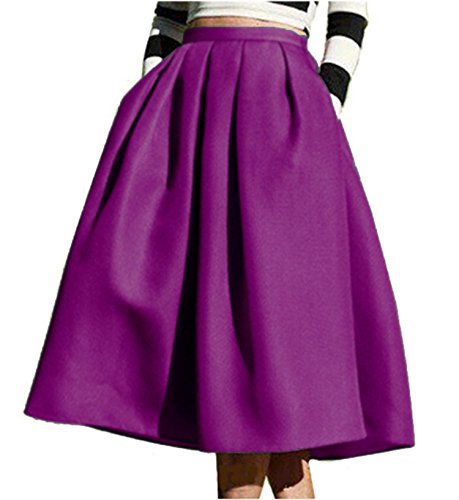 (FACE N FACE Women's High Waisted A line Street Skirt Skater Pleated Full Midi Skirt Small Purple)