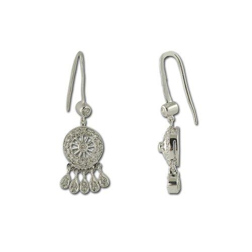 (TriJewels Round Diamond Chandelier Dangling Earrings (I1-I2, H-I) 1/2 ctw 14K White Gold)