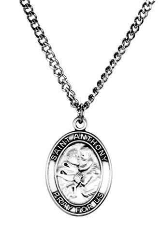 Sterling Silver Catholic Patron Saint Anthony Medal Pendant  1 Inch