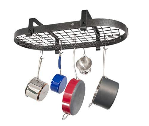 Enclume Premier Low-Ceiling Oval Pot Rack, Hammered Steel ()