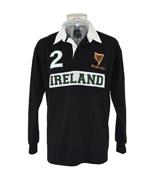 Camiseta de Rugby Manga Larga de Irlanda Color Negro (Tallas Ch ...