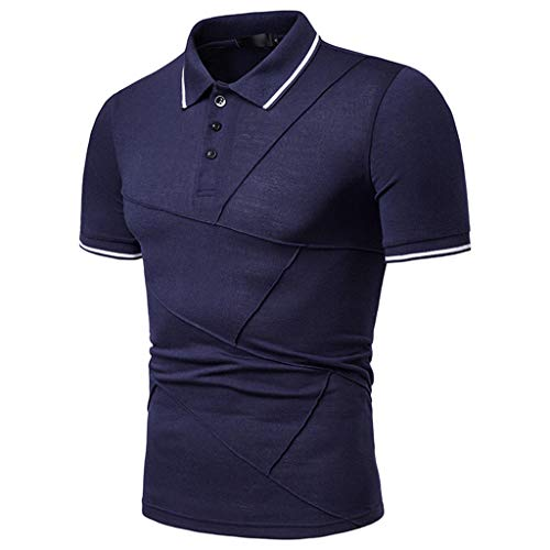 (iYYVV Mens Fashion Short Sleeve Stripe Patchwork Large Size Casual Tops Blouse Shirt Navy)