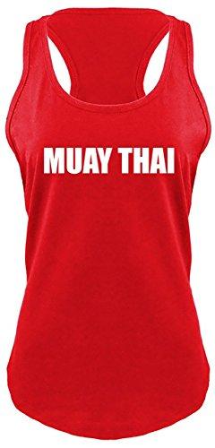 Ladies Racerback Tank Muay Thai Gym Workout Shirt Red M ()