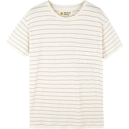 Natural Stripe Shirt - Mollusk Hemp Stripe T-Shirt - Men's Natural/Clay Stripe, M
